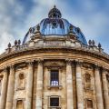 The Radcliffe Camera against a blue and cloudy sky