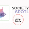 Society Spotlight - Oxford LGBTQ+ society text and logo