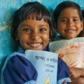 Three Portrait Girls smiling in school 1st January 2000, Medinipur, West bengal, India